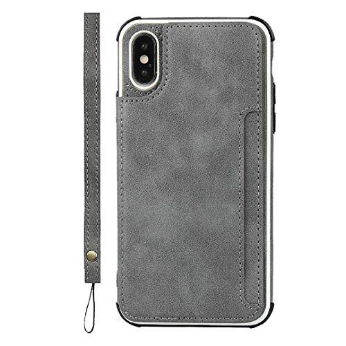 GIMTON iPhone X/iPhone XS Hülle, Brieftasche Rückenschale mit Handschlaufe und Standfunktion, Stoßfest Kratzfestes PU Schutzhülle für iPhone X/iPhone XS, Grau