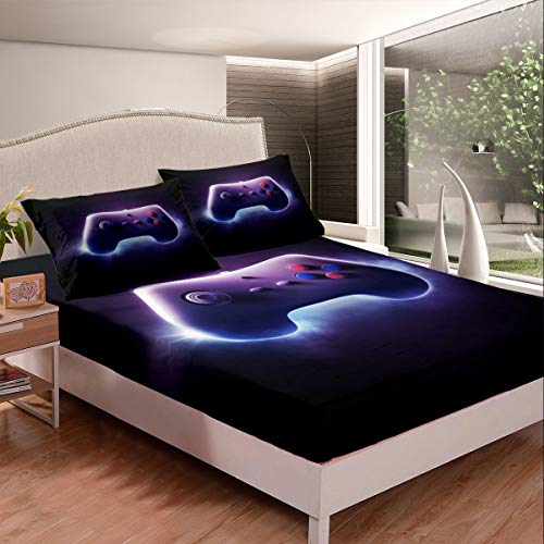 Gamepad Bed Sheets Purple Games Decor Bed Sheet Set for Kids Boys Girls Teens Video Gamer Gamepad Bedding Set Novelty Modern Game Controller Fitted Sheet Bedroom Collection 3Pcs Full Size