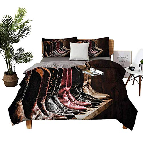 4pcs Bedding Set BedclothesFlat Sheet Winter Bed Sheets Photograph of Various Type of Rodeo Fancy Cowgirl Leather Boots Collection Image Art Brown no Irritation to The Skin W68 xL90