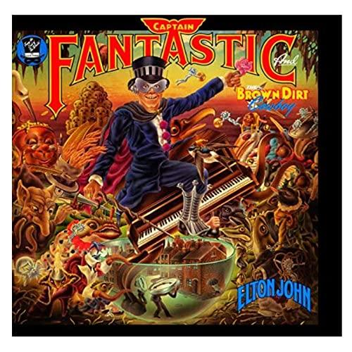 wzgsffs Elton John - Captain Fantastic (1975) Póster del Álbum E Impresiones Arte De La Pared Impresión En Lienzo Sala De Estar Dormitorio del Hogar-24 X 24 Pulgadas X 1 Sin Marco