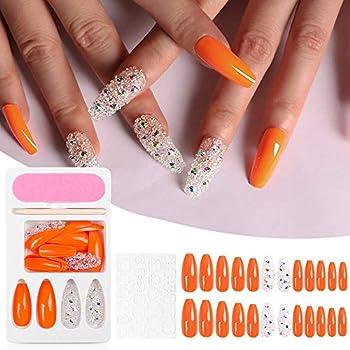 Nail Bright Neon Orange Press on Nails Tips Holographic 3D Diamond Long Coffin Ballerina UV nail Tips With Box Free Adhesive Tapes mini nail file,wooden stick