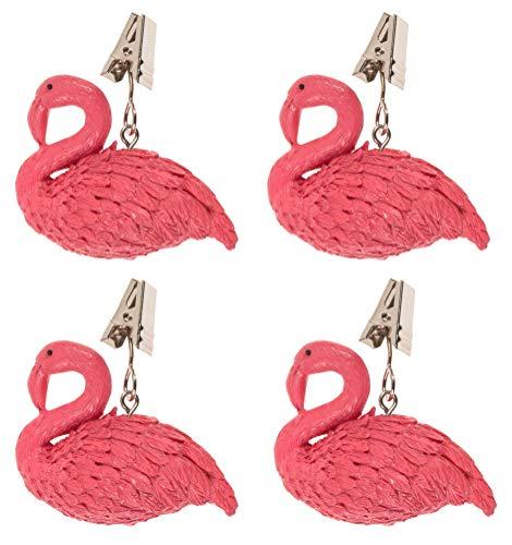 MIK Funshopping 4er Set Tischdeckenbeschwerer - Mit Stahlclips, maximale Klemmkraft - Tischdecken-Gewichte ca. 185 g schwer - Ideal für den gedeckten Tisch (Flamingo)