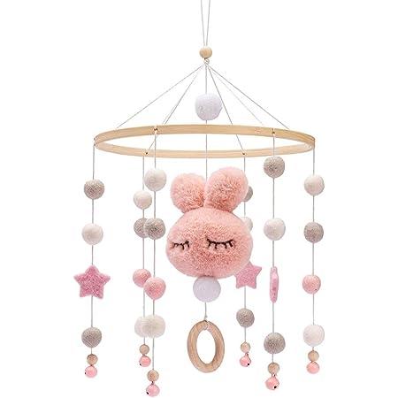 Promise Babe Mobile en bois pour bébé avec boules de feutre Cloche suspendue pour chambre d'enfants Carillons éoliens mobiles Bunny pour lit de bébé (Rose)