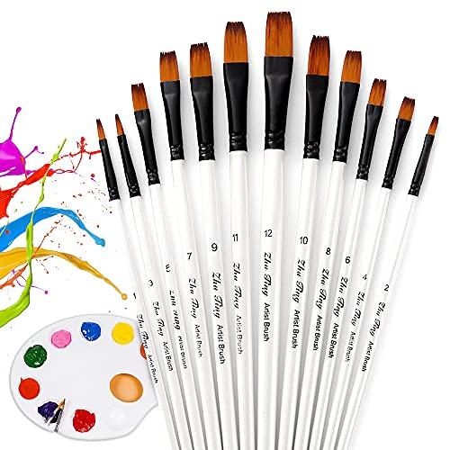 O-Kinee Künstlerpinsel, 12 Pinselset Malen mit 1 Mischpalette, Künstlerpinsel Borstenpinsel für Aquarell, Acryl & Ölgemälde Perfektes Pinsel Set für Anfänger, Kinder, Künstler