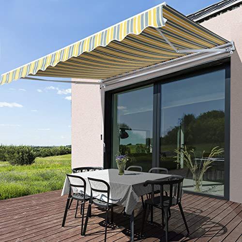 XIAO&WEICHENG 3.5M X 2.5M Auvent Rétractable Manuel Store Fenêtre Terrasse Jardin Extérieur