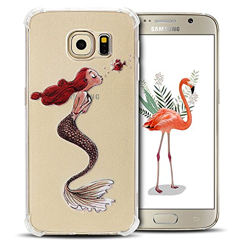 SpiritSun - Custodia per Samsung Galaxy S6, in silicone morbido gel TPU Bumper copertura per Samsung S6 copertura posteriore angoli rinforzamento flessibile trasparente protezione Case Mermaid