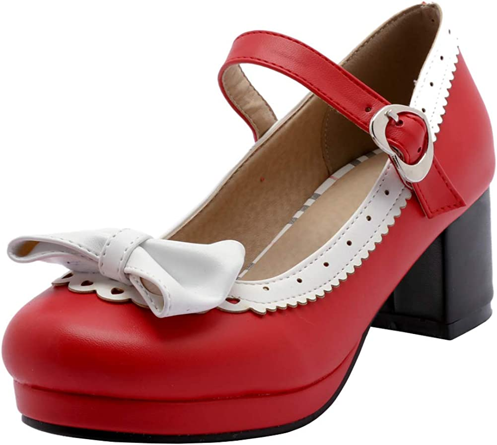 Caradise Womens Cute Lolita Cosplay Shoes Mary Bow Janes Chunky Cheap bargain Special price