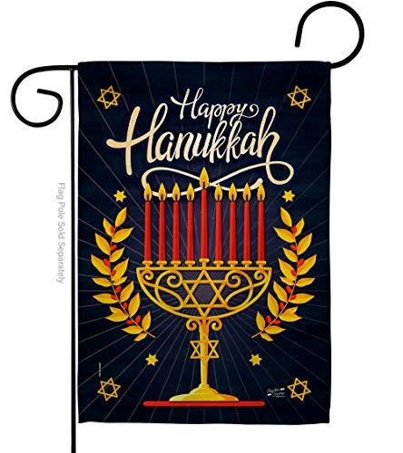 Angeleno Heritage Happy Hanukkah Garden Flag Winter Candle Bonsai Menorah Jewish Chanukah David House Decoration Banner Small Yard Gift Double-Sided, 13'x 18.5', Thick Fabric
