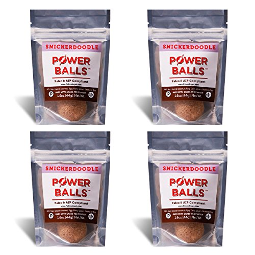 Paleo Angel Power Balls Healthy Paleo Approved Gluten Free AIP Protein Snack Bars (4 Pack) (Snickerdoodle)