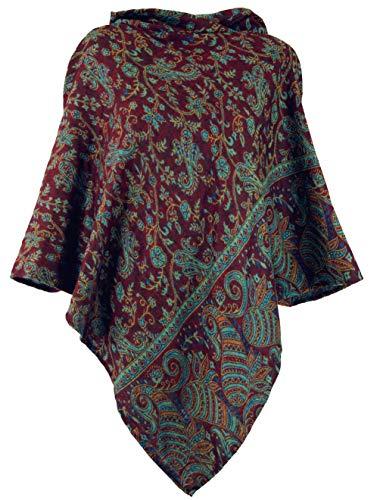 Guru-Shop Poncho mit Kapuze, Goa Hippie, Boho Poncho, Damen, Wine, Synthetisch, Size:40, Jacken, Mäntel & Ponchos Alternative Bekleidung