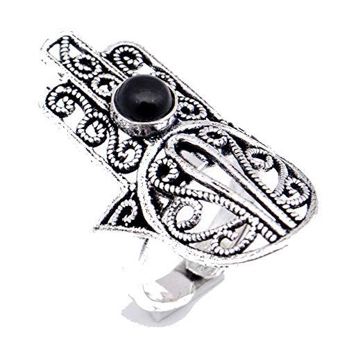 Anillo de ónix negro chapado en plata oxidada joyería artística hecha a...