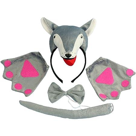 PRETYZOOM Costume Lupo Travestimento Lupo con Cerchietto Orecchie Cravatta Coda di Lupo Guanti per Bambino 4 Pezzi