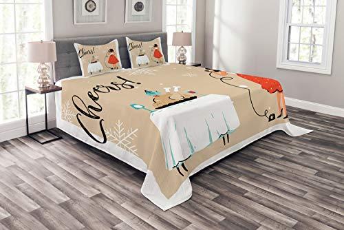 ABAKUHAUS Ruf Mama Tagesdecke Set, Mom Phone Dinner Table, Set mit Kissenbezügen Romantischer Stil, für Doppelbetten 264 x 220 cm, Mehrfarbig