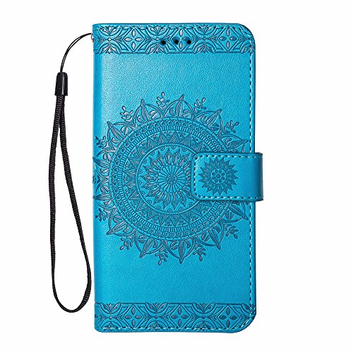 ZCRO Leder Hülle für Samsung Galaxy S6 Hülle Schutzhülle Handyhülle Klapphülle Flip Case Cover Leder Tasche Elegant mit Magnet Kartenfach Muster Lederhüllen Handytasche für Samsung Galaxy S6 (Blau)