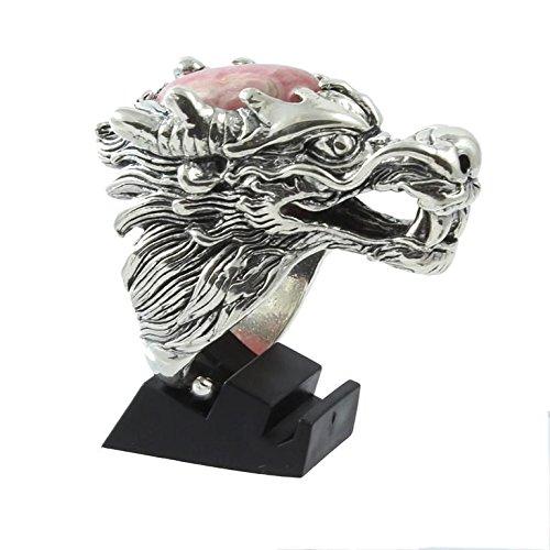 Shadi - Anillo étnico de plata de ley forma de dragón con rodocrosita argentina étnico (joyería de plata artesanal - regalo - mujer - hombre - Navidad - Reyes - cumpleaños)