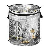 Hunihuni Paris City - Cesta de lavandería plegable para ropa sucia, cesta de almacenamiento con tapa con cremallera para baño, dormitorio, lavandería