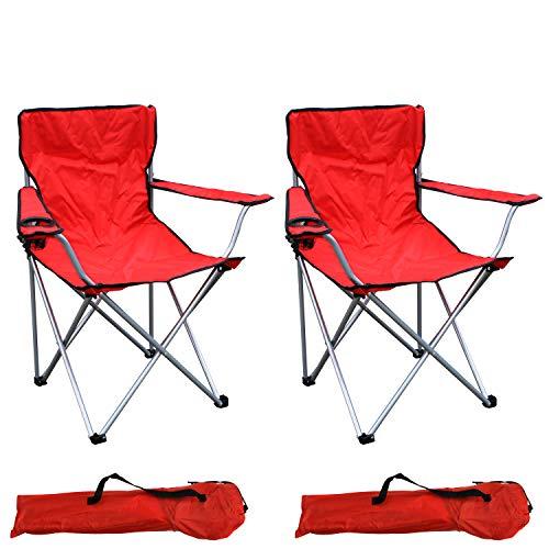 Mojawo - Set di 2 sedie da pesca pieghevoli, da campeggio, da pesca, da regista, con porta bevande e borsa, portata fino a 120 kg, colore: Rosso
