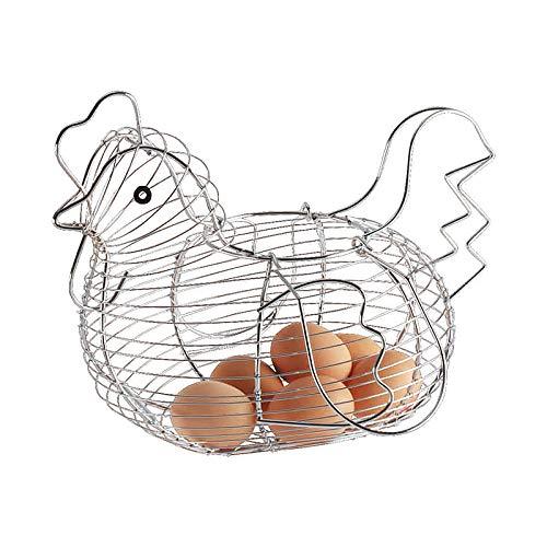 ZTHHS Cesta de Almacenamiento de Huevos de Arte de Hierro, Caja de Almacenaje de Cocina con Forma de Gallina, Canasta de Alambre para Almacenamiento de Frutas para Cocina Casera