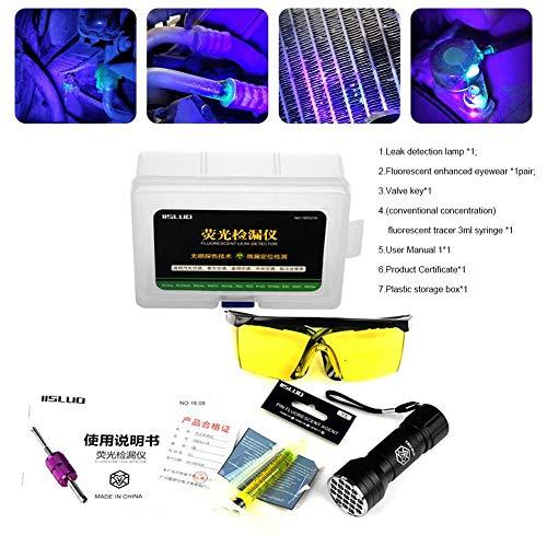Aire acondicionado para automóvil Un sistema C detector de prueba de fugas kit gafas protectoras kit de herramientas de tinte UV LED linterna UV herramientas de reparación de aire acondicionado para