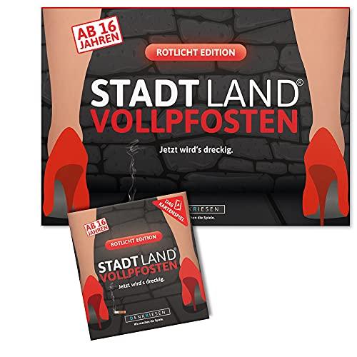 DENKRIESEN Stadt Land VOLLPFOSTEN - ROTLICHT-Duo - Das Kartenspiel und der Spielblock - Rotlicht Edition