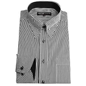 【MARUTOMI】ドレスシャツ メンズ 【日本製・綿100%】長袖ピンホールカラーシャツ/ブラックストライプ(オセロ切替・専用ピン付属)【Le orme】パーティー 2次会 ドレッシー ワイシャツ yシャツ ブラックストライプ GA-9316-910-L