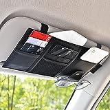 EcoNour Car Sun Visor Organizer | Car Registration & Insurance Holder | Sunglasses Holder for Car Visor Auto Interior Travel Accessories | Car Accessories Interior | Visor Organizer for Trucks (Black)