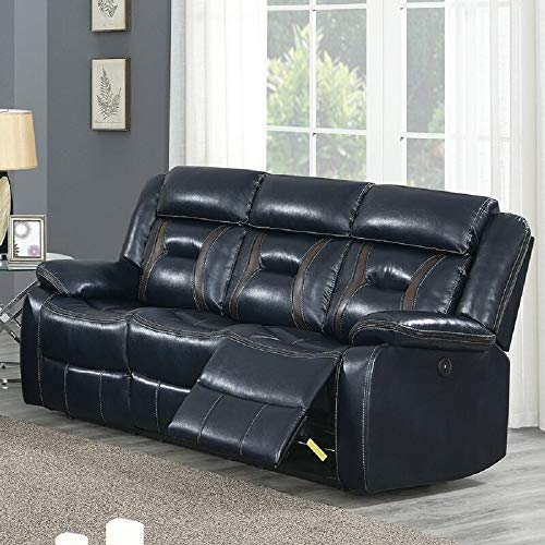 Reclining Sofa Multi-Function Living Room Sofa Leather Sofa Ink Blue
