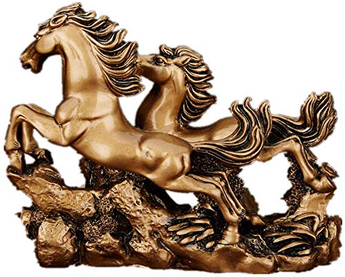 LHR trading inc Feng Shui Resin Double Running Horse Statue Symbol Success Home Office Decor(Bronze Color)