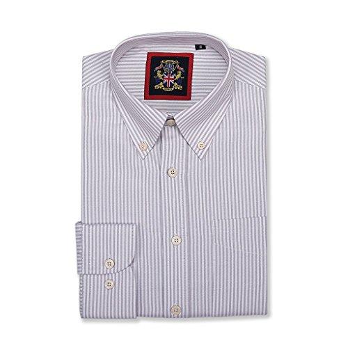 Windsor Hemd, fein gestreift, mit Knopfleiste, einfarbig, Doppelmanschette, S-XXXL, traditionelles Schneidern, pflegeleichter Stoff für formelle oder legere Anlässe Gr. S, Macadamia-Keks