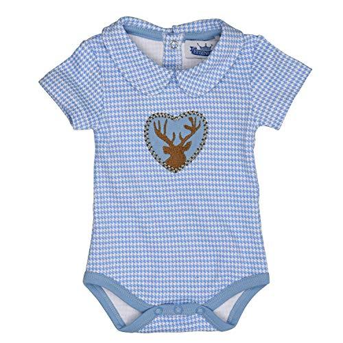 Eisenherz Trachten Babybody - Body Kurzarm mit Kragen, mit Hirschaplikation für Jungen in hellblau - EIN tolles Geschenk, in Größe 74