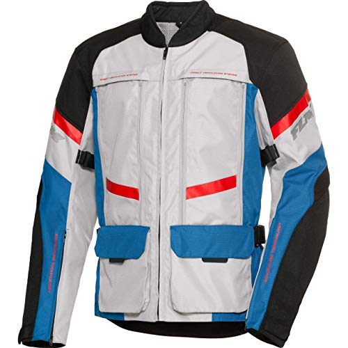 FLM Motorradjacke mit Protektoren Motorrad Jacke Sommerreise Textiljacke modular 2.0 blau M, Herren, Tourer, Ganzjährig, Polyester