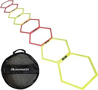REFREEZE(リフリーズ) ラダー トレーニング スピード ヘキサゴン 8個セット メッシュ収納バッグ付き アジリティ サッカー フットサル 野球 陸上 練習 瞬発力 敏捷性