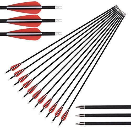 De 32 Pulgadas / 30 Pulgadas Caza Práctica Flechas con la Punta de Flecha reemplazable Spine 500 para el Compuesto y Arco recurvado. (12pack),30inch