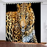 AUYTQ Cortinas Fruncidas Niñas - Estampado De Leopardo Animal 160X160 Cm Cortinas Infantiles Largas Para Dormitorio Bebe/Telas Trmicas Aislantes Reduccion Ruido Proteccion Intimidad Antimoscas, 2 Uds