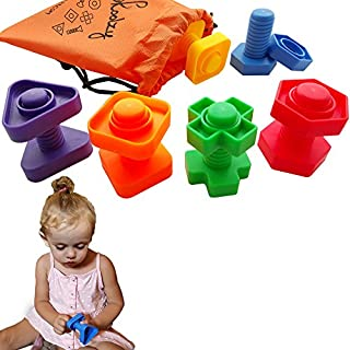 Skoolzy Jumbo Nuts and Bolts Toddler Toys Montessori Toys Building Construction Set | 12 pc Occupational Therapy Tools Matching Fine Motor Skills for Toddlers Boys, Girls | Learning Activities eBook