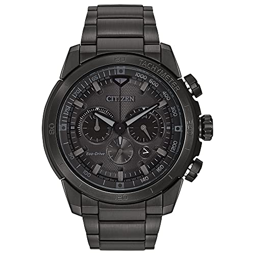 Citizen Eco-Drive Ecosphere Chronograph Mens Watch, Stainless Steel, Weekender, Black (Model: CA4184-81E)