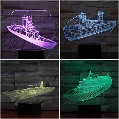 Nur 1 Led Nachtlicht Dekoration 3d Illusion Militärschiff ns Kinder Nachtlicht Geschenke Tischlampe Flugzeugträger Schlafzimmer