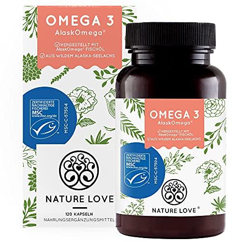Omega 3 aus wildem Alaska-Seelachs von NATURE LOVE (120 Kapseln) – MSC-zertifizierter Spitzenrohstoff AlaskOmega ® - laborgeprüft, hochdosiert, ohne unerwünschte Zusätze in Deutschland produziert