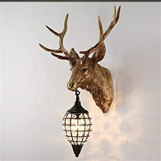 NKUFOS Wall Lamps & Sconces Deer Heads Antlers Vintage Style Resin Wall Lamp 1 Light, Rural Countryside Antler Wall Lamp,Living Room,Bar,Cafe