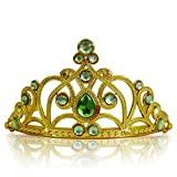 Katara 1682 - Diadema de Princesa Accesorio de Disfraz Corona de Cuentos de Hadas - Dorada con Cristales, Verde Claro