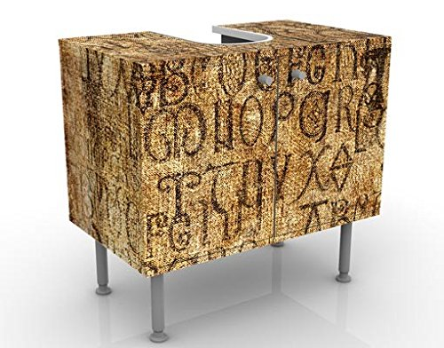 Apalis Waschbeckenunterschrank - Old Letters - Vintage Badschrank Braun, Größe: 55cm x 60cm