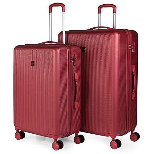 JASLEN - Set 2 vaste koffers 4 wielen 54 66 75 cm ABS. Bestand en licht. TSA-hangslot. 2 maten medium en large XL 171016, Color Rood