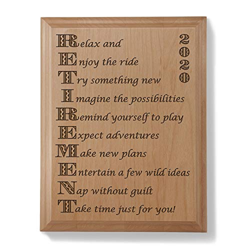 KATE POSH - 2020 Enjoy Retirement Engraved Natural Wood Plaque - Boss and Coworker Gift