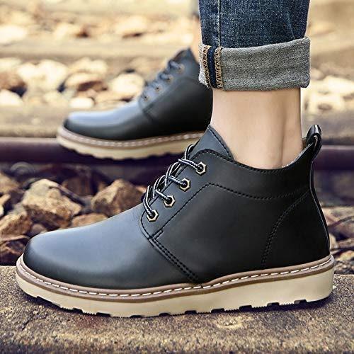 Shukun Bottes pour hommes Martin Bottes d'hiver pour Hommes de Haute pour Hommes de Chaussures de Coton Chaud Sauvage Bottes de Coton Occasionnels