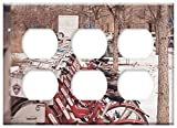 Triple Duplex Outlet Wall Plate Cover - Bikes Bicycles Denver City Winter Snow
