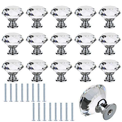 ManLee 16pcs Tiradores de Cristal 30mm Pomos y Tiradores de Muebles Pomos Puertas Perilla con Tornillos para Armarios Cajones Cocina Gabinetes Aparador Forma de Diamante