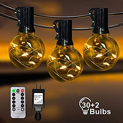 IELECMG Patio String Lights Outdoor - 32.8FT G40 Globe Led String Lights with 32 Glass Bulbs(2 Spare) Linkable Dimmable Waterproof Decorative Lighting Remote Control for Garden Wedding Party