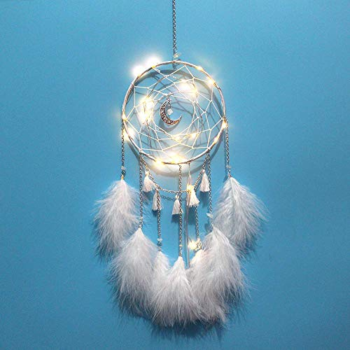 WEHOLY Wind Chime Dream Catcher Colgante Elegante Minimalista Wind Chime Decoraciones Dream Net Moonlight Chain Lámpara Colgante Blanca