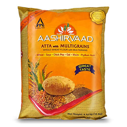 ITC Aashirvaad Whole Wheat flour with MULTIGRAINS, 10lb., 4.54kg. EXPORT PACK