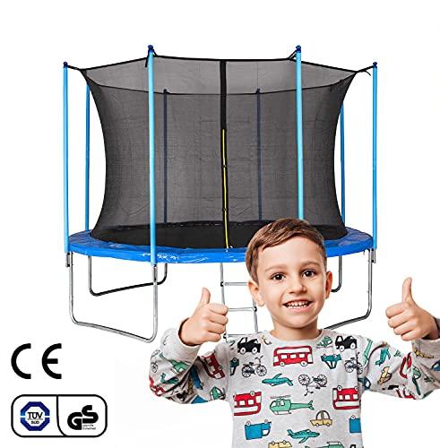 Trampolin Outdoor Gartentrampolin,10FT 305cm Belastbar bis 125 kg,Trampolin mit Sicherheitszaun und Gepolsterte Stangen für Kinder Indoor Outdoor Fitness, Waldensports,